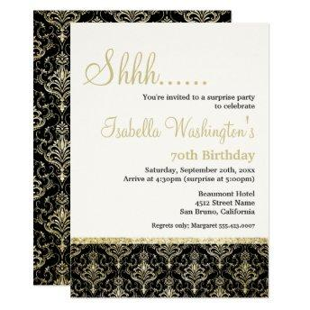 Gold Glitter Damask 70th Surprise Birthday Party