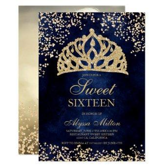 gold glitter navy blue crown tiara photo Sweet 16 Invitation