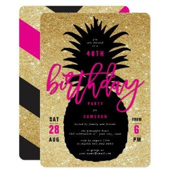Gold Glitter Pineapple Chic Birthday Party Invite