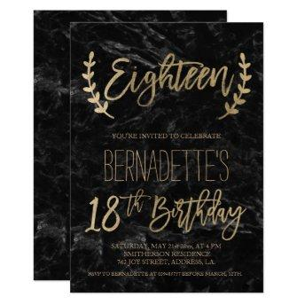 Gold script feathers black marble 18th Birthday