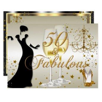 Gold Sparkle 50 & Fabulous Birthday Invitation