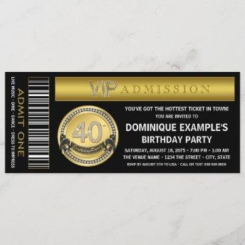Gold Ticket 40th Birthday Party Invitation