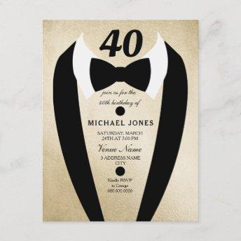 Gold Tuxedo Mens 40th Birthday Party Invite