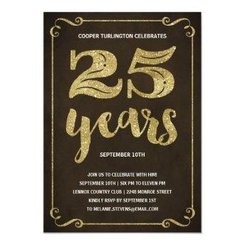 Gold Typography | Faux Foil 25th Birthday Party