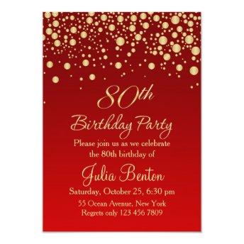 Golden confetti on red 80th Birthday Invitation