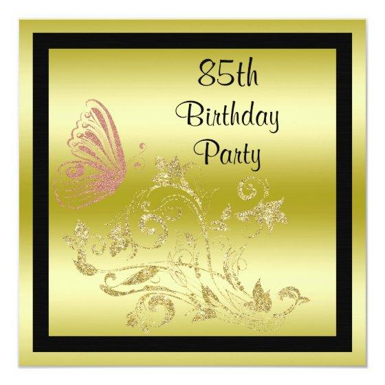 242 Golden Glitters Sparkly Butterfly 85th Birthday Invitation