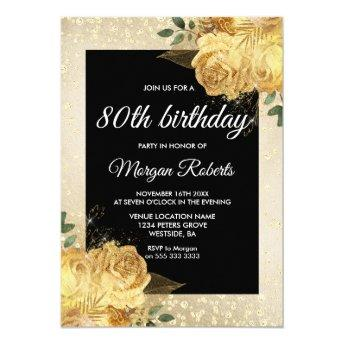 Golden Rose Glitter Floral 80th Birthday Party
