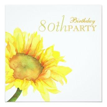 Golden Watercolor Sunflowers 80th Birthday Party