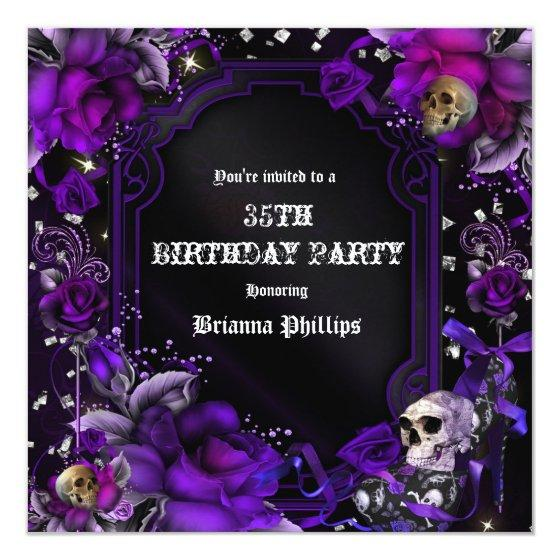 Gothic purple black roses skulls bling birthday party invitations 279 gothic purple black roses skulls bling filmwisefo
