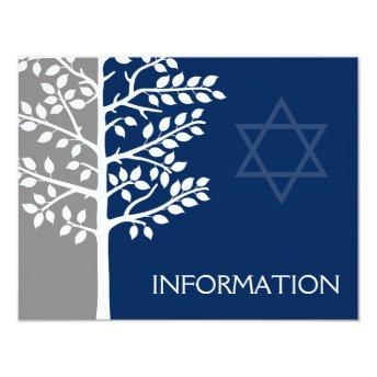 Gray Navy Tree of Life Bar Mitzvah Information