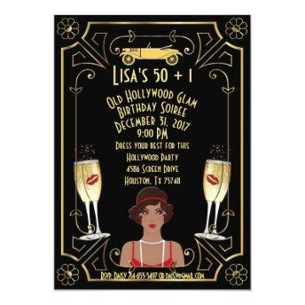 Great Gatsby Black Flapper Girl Hollywood Invite