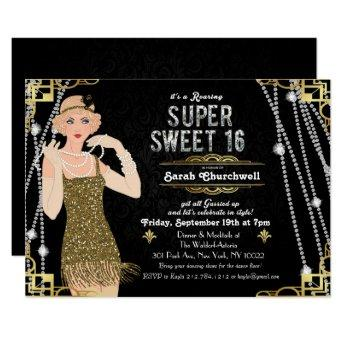 Great Gatsby Flapper Sweet 16 Birthday Invitation