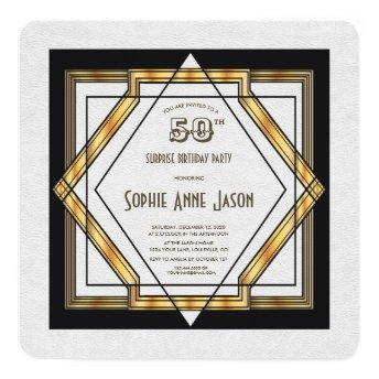 Great Gatsby Gold White Art Deco 50th Birthday