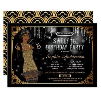 Great Gatsby sweet 16 birthday party invitation