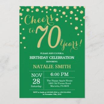 Green and Gold 70th Birthday Diamond Invitation