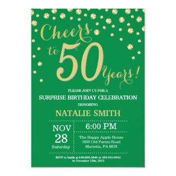 Green and Gold Surprise 50th Birthday Diamond Invitation