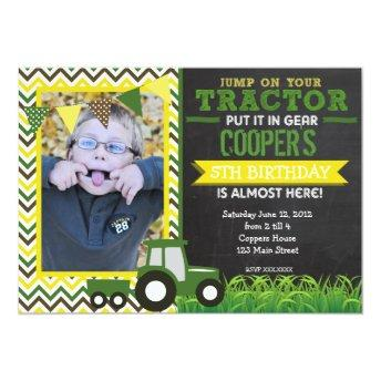 Green Chevron Tractor Birthday Party