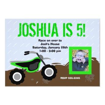 Green Dirt Bike Birthday Invitation