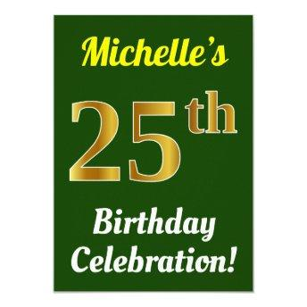 Green, Faux Gold 25th Birthday Celebration + Name Invitation
