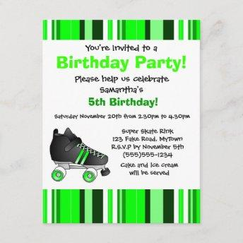 Green Roller Skate Birthday Party - Green Stripe Invitation