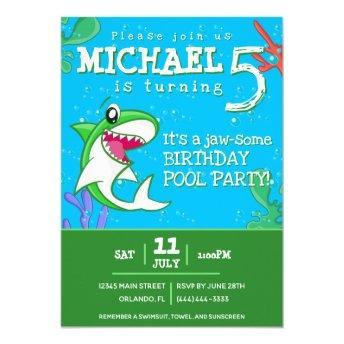 Green Shark Cute Kids Birthday Pool Party Invitation