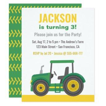 Green Tractor Boys Birthday Party Invitation