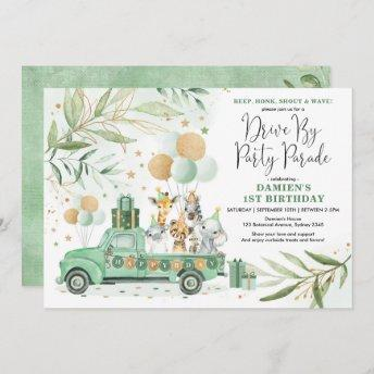 Greenery Gold Safari Drive By Birthday Parade Invitation