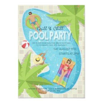 Grill and Chill Adult Birthday Pool Party Invite