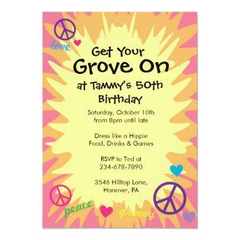 Groovy 60's theme party Invitation