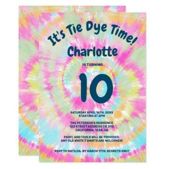 Groovy rainbow tie dye 10th kids birthday party invitation