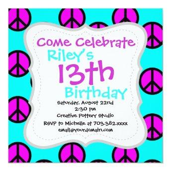 Groovy Teen Hippie Teal and Purple Peace Signs Invitation