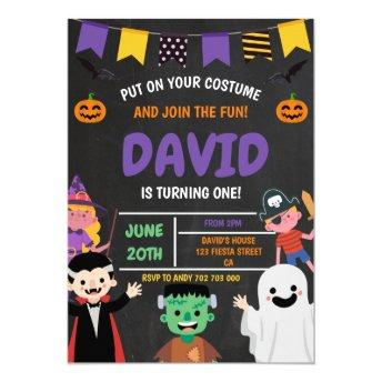 Halloween First Birthday Party Costume Spooky Invitation