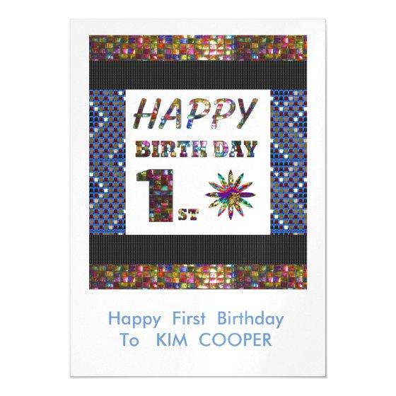 happy 1st birthday change or delete text msg 1st magnetic invitation