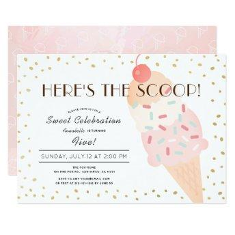 Here's the Scoop Ice Cream Pink Gold Girl Birthday Invitation