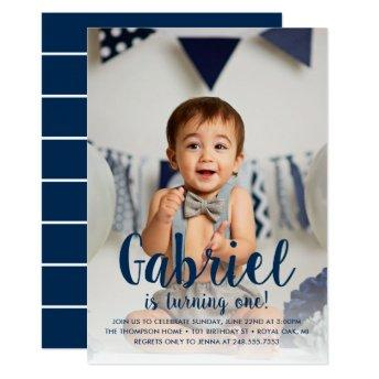 He's Turning One | Navy Boy's First Birthday Invitation
