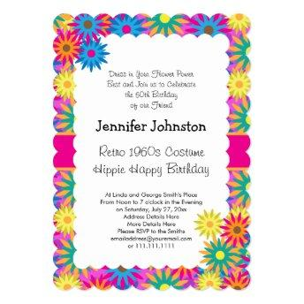 Hippie Happy 1960s Retro Theme Flower Power Party Invitation