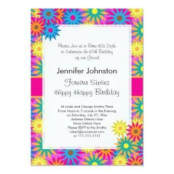 Hippy Happy Birthday 1960s Retro 60th BDay Party Invitation