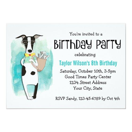 Hipster Dog Birthday Party Invitation Invitations