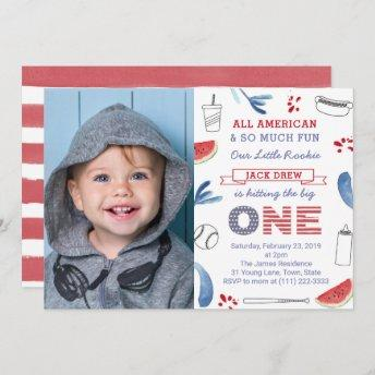 Hitting The Big ONE Baseball 1st Birthday Picture Invitation