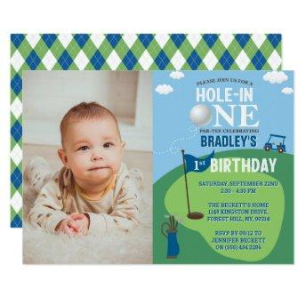 Hole In One Golf 1st Birthday Photo Invitation