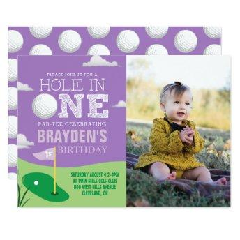 Hole in One Purple Golf Theme Girls First Birthday Invitation