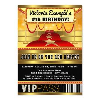 Hollywood Birthday Party Invitation