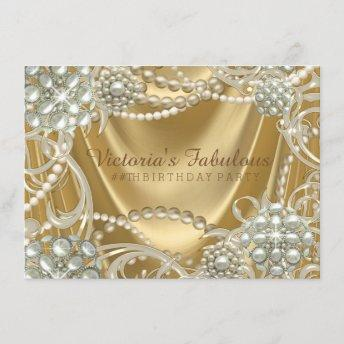 Hollywood Glam Pearl Birthday Party Invitation