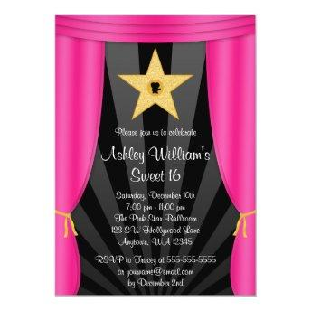 Hollywood Star Pink Curtains Sweet 16 Birthday