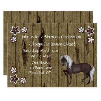Horse, Flowers, Wood Bkg Western Birthday Invite