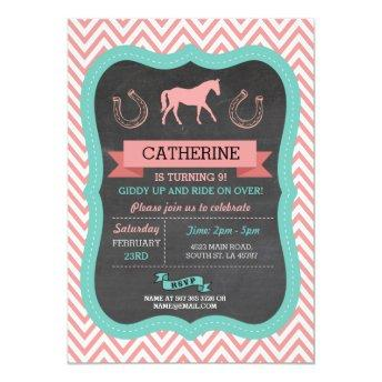 Horse Riding Party Invite Chevron Pony