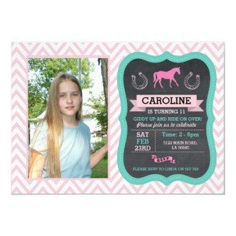 Horse Riding Photo Pony Pink  Invite