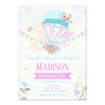 Hot Air Balloon 1st Birthday Invitation