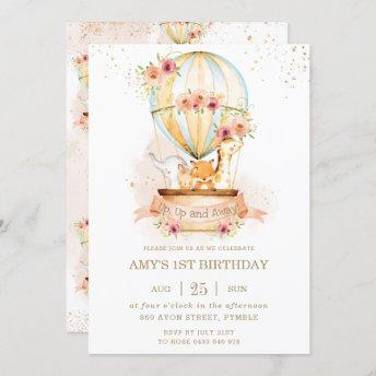 Hot Air Balloon 1st Birthday Jungle Animals Girl Invitation