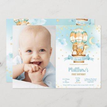 Hot Air Balloon Birthday Cute Baby Animals Photo Invitation